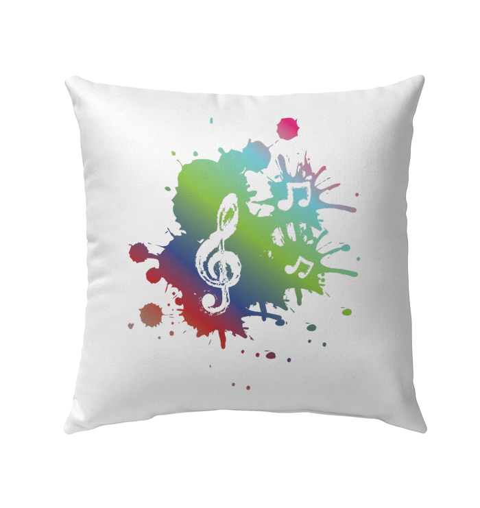 A Colorful Splash of Music - Outdoor Pillow