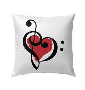 Treble Bass Red Heart   - Outdoor Pillow