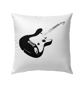 Cool black electric guitar - Outdoor Pillow