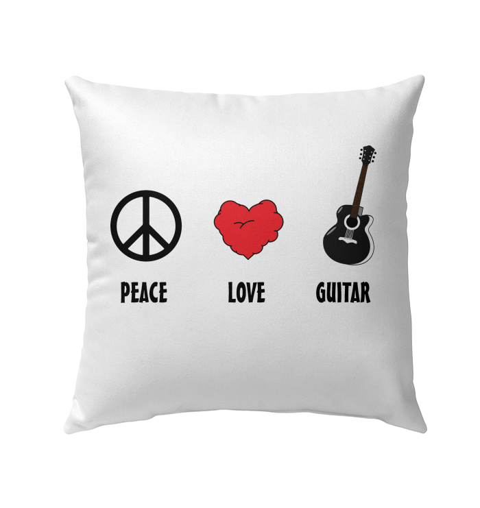 Peace Love Guitar - Outdoor Pillow