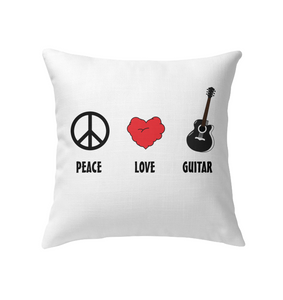 Peace Love Guitar - Indoor Pillow