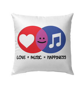 Love and Music is Happiness - Outdoor Pillow