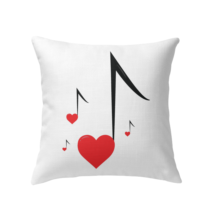 Four Floating Heart Notes - Indoor Pillow