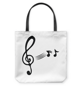 Treble Clef with floating Notes  - Basketweave Tote Bag
