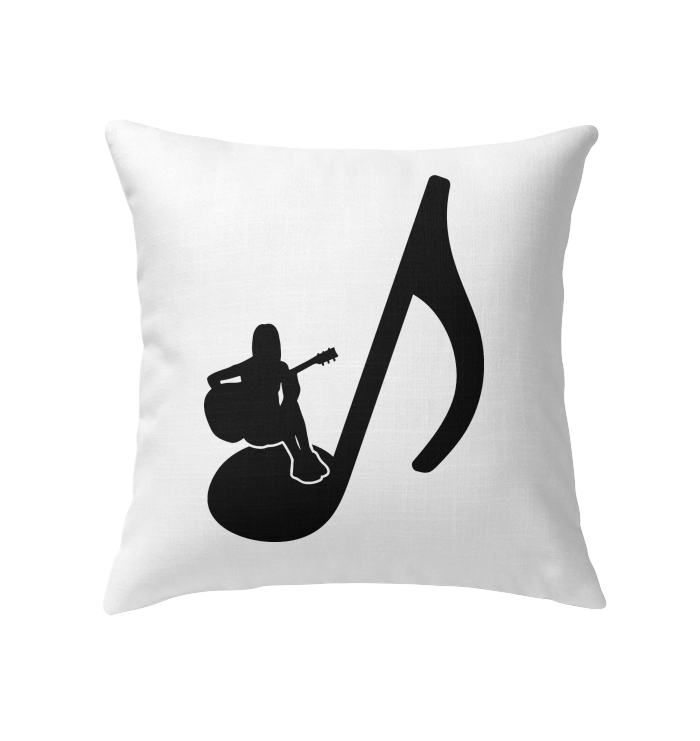 Sitting on a Note (Black)  - Indoor Pillow
