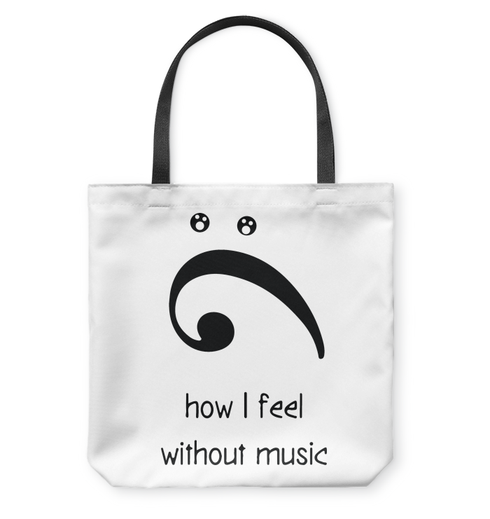 How I Feel Without Music - Basketweave Tote Bag