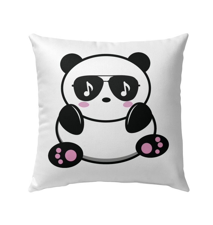 Cool Music Loving Panda feeling the beat - Outdoor Pillow