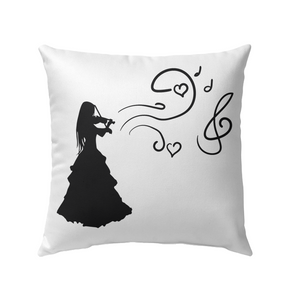 Girl Playing Violin - Outdoor Pillow