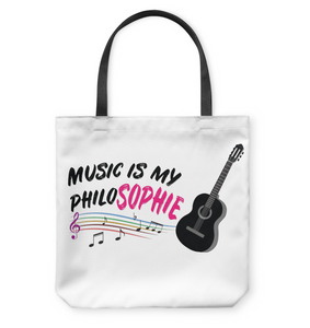 Music is my Philo-Sophie Colorful + Guitar - Basketweave Tote Bag