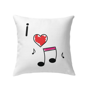 I Love Music Hearts and Fun - Indoor Pillow