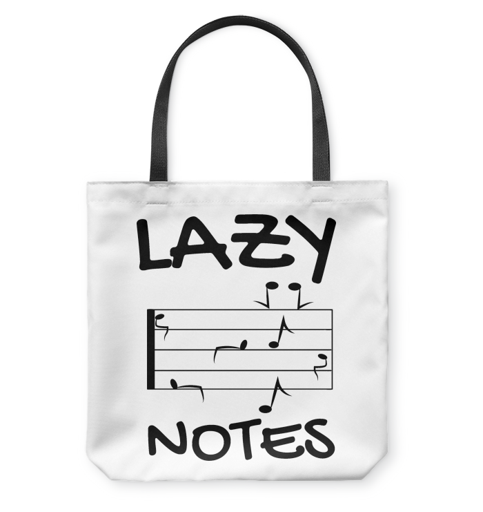 Lazy Notes (Black)  - Basketweave Tote Bag