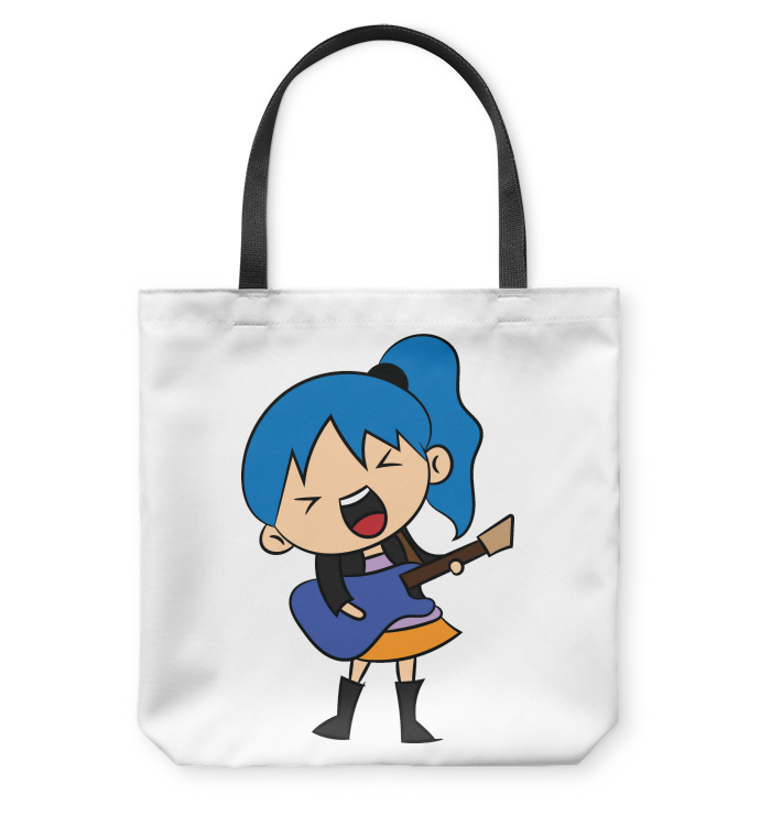 Girl Singin with Guitar - Basketweave Tote Bag