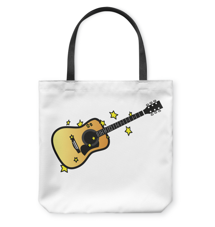 Acoustic Guitar in the Stars - Basketweave Tote Bag