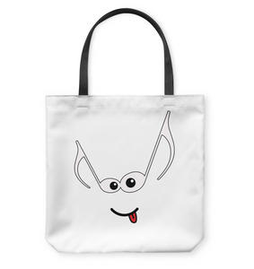 Mischievous Note Face  - Basketweave Tote Bag