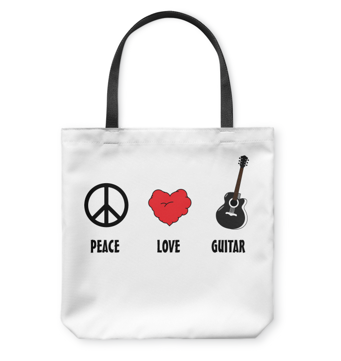 Peace Love Guitar - Basketweave Tote Bag