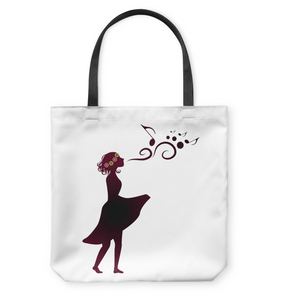 Girl Singing Silhouette - Basketweave Tote Bag