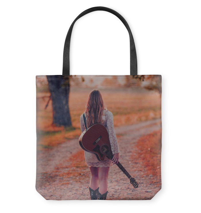 Walking with my Guitar - Basketweave Tote Bag