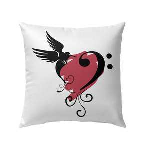 Bird and Musical Heart Red - Outdoor Pillow