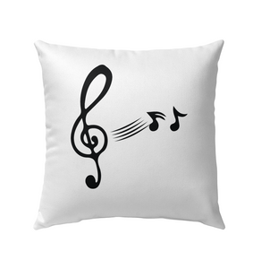 Treble Clef with floating Notes - Outdoor Pillow