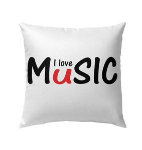 I love Music plain and simple - Outdoor Pillow