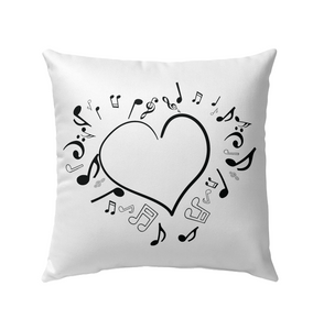 Floating Notes Heart Black - Outdoor Pillow