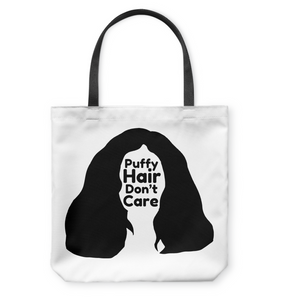 Puffy Hair Don't Care, Sophie - Basketweave Tote Bag