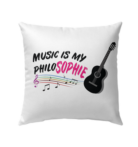 Music is my Philo-Sophie Colorful + Guitar - Outdoor Pillow