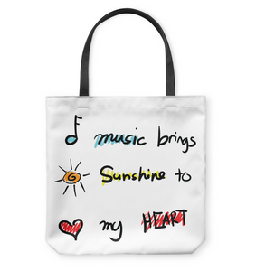 Music brings Sunshine to my Heart - Basketweave Tote Bag