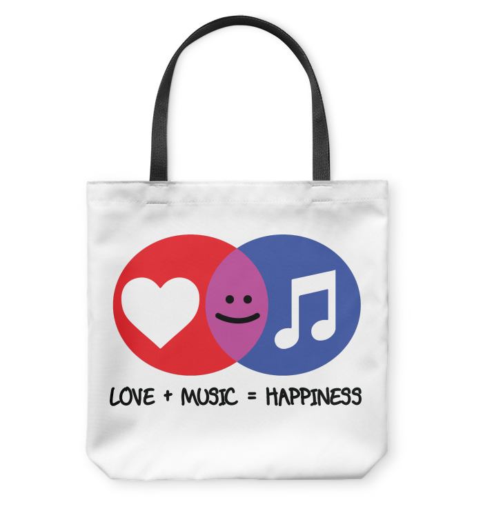 Love and Music is Happiness - Basketweave Tote Bag