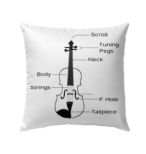 The Cello Blk Wht  - Outdoor Pillow