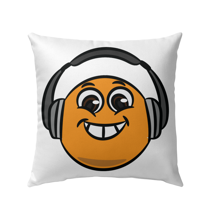 Eager Orange with Headphone - Outdoor Pillow