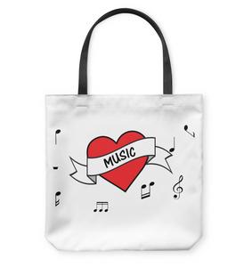 Musical Heart  - Basketweave Tote Bag