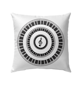 Piano Keys Circle  - Outdoor Pillow