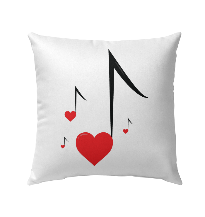 Four Floating Heart Notes  - Outdoor Pillow