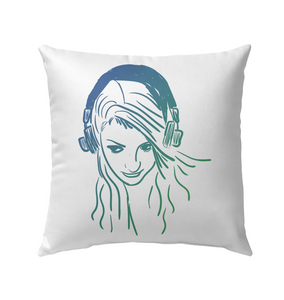 Listening to Music Sketch - Outdoor Pillow