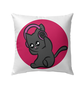 Cat with Headphone - Outdoor Pillow