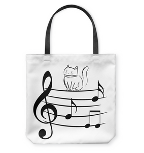 Kitty on a Staff - Basketweave Tote Bag