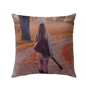 Walking with my Guitar - Outdoor Pillow