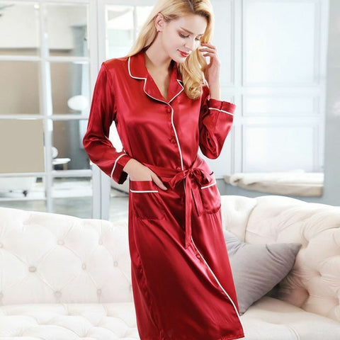 Red Long Silk Comfortable nightwear