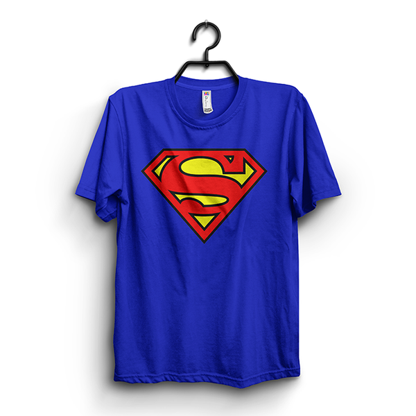 Royal Blue Cotton Superman Printed Half Sleeves Round Neck T-Shirt For Men