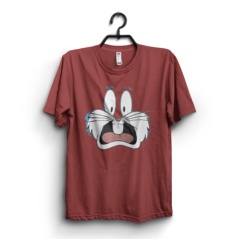Maroon Bugs Bunny Printed Half Sleeves Round Neck Tshirt For Men