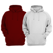 Bundle Of 2 : Maroon & Hazel Grey Plain Kangroo Hoodie