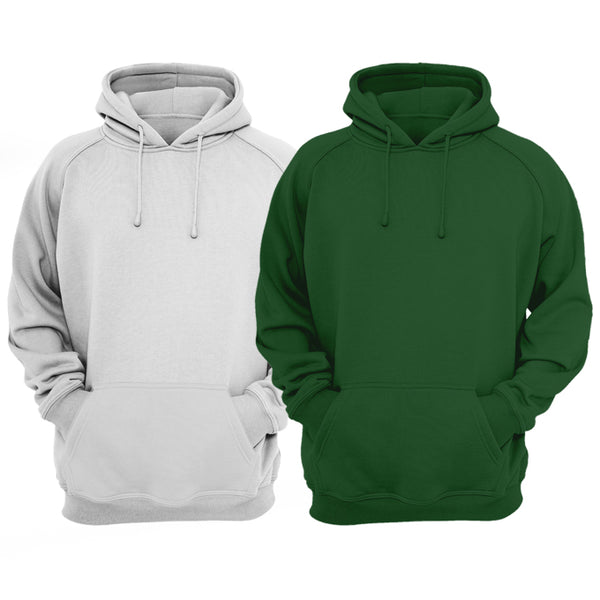 Bundle Of 2 : Hazel Grey & Hunter Green Plain Kangroo Hoodie