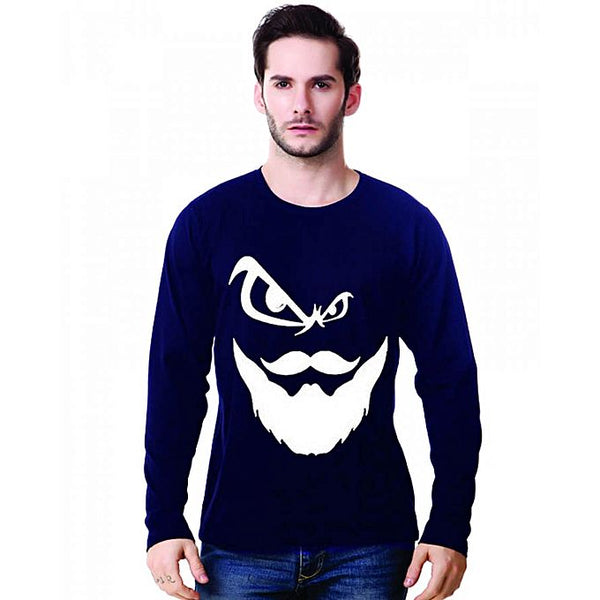 Navy Blue Angry Beard Printed Full Sleeve T-Shirt For Men