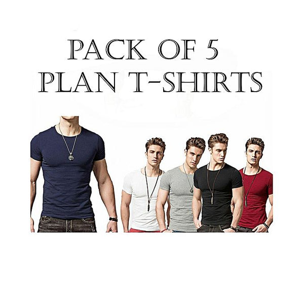 Pack Of 5 - Maroon, Black, Navy Blue, White & Hazel Grey Cotton Round Neck Tshirt For Men