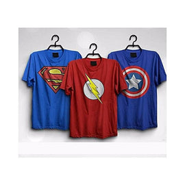 Pack Of 3 : Super Heroes Cotton Printed T-Shirt For Men