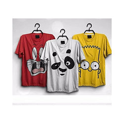 Pack Of 3 :Cotton Printed T-Shirt For Men