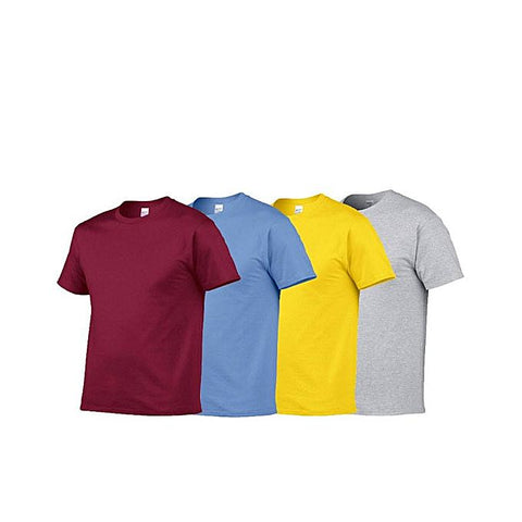 Pack of 4 Multi color Round Neck Plain Cotton T-shirts For Women