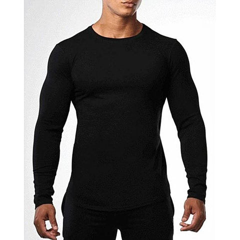 Black Cotton Round Neck Full Sleeves Plain T Shirt For Men