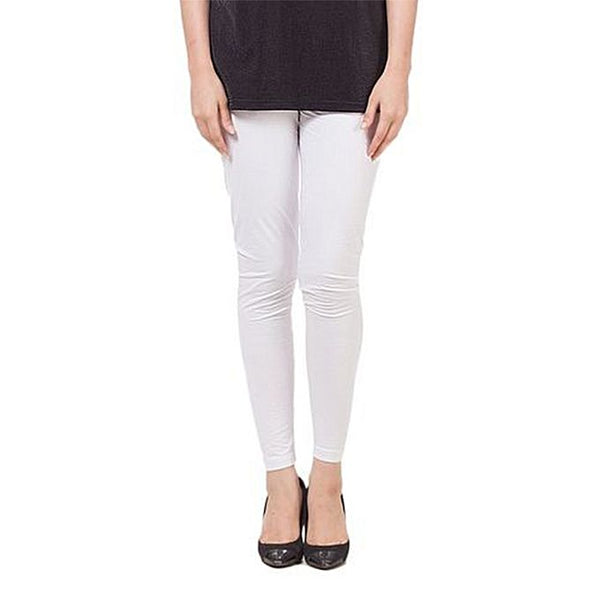 White Cotton Regular-Fit Tights For Women